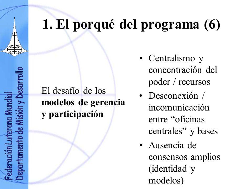 1. El porqué del programa (6) El desafío de los modelos de gerencia y participación Centralismo y concentración del poder / recursos Desconexión / inc