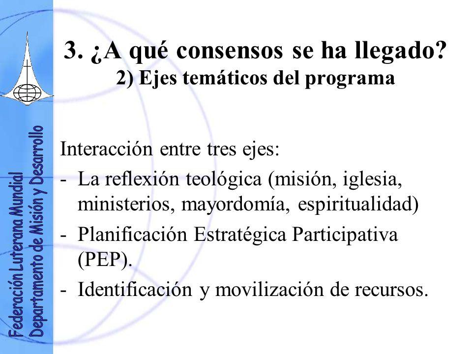 3. ¿A qué consensos se ha llegado? 2) Ejes temáticos del programa Interacción entre tres ejes: -La reflexión teológica (misión, iglesia, ministerios,