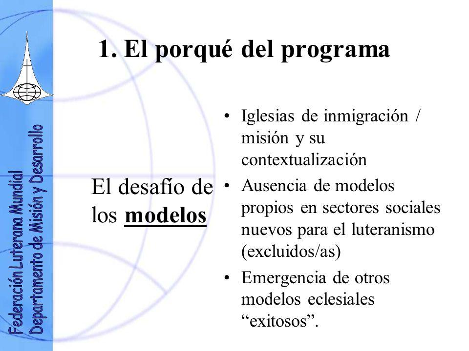 1. El porqué del programa El desafío de los modelos Iglesias de inmigración / misión y su contextualización Ausencia de modelos propios en sectores so