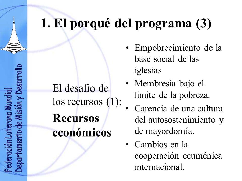 1. El porqué del programa (3) El desafío de los recursos (1): Recursos económicos Empobrecimiento de la base social de las iglesias Membresía bajo el