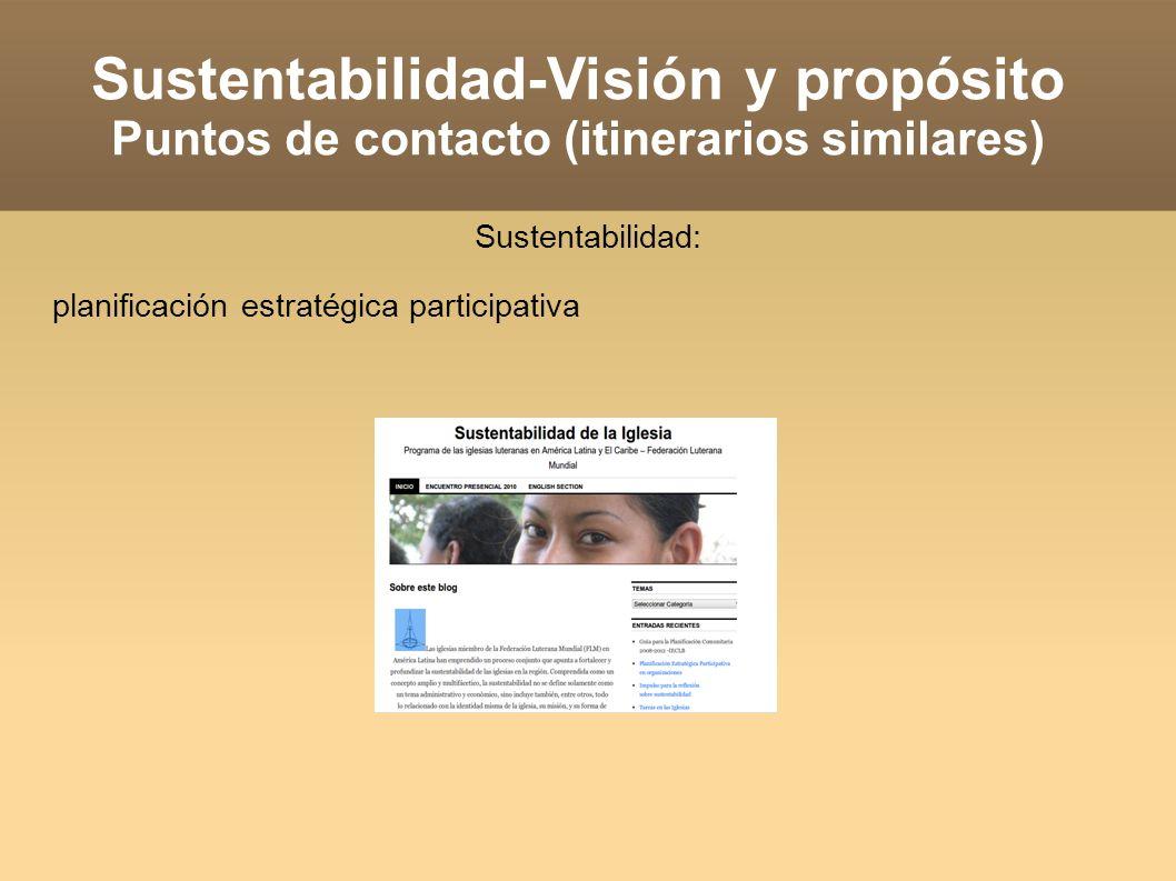 Sustentabilidad-Visión y propósito Puntos de contacto (itinerarios similares) Sustentabilidad: planificación estratégica participativa