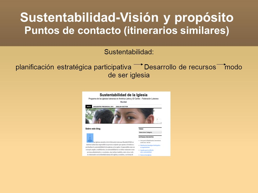 Sustentabilidad-Visión y propósito Puntos de contacto (itinerarios similares) Sustentabilidad: planificación estratégica participativa Desarrollo de recursos modo de ser iglesia Visión y propósito: PEP (2002),