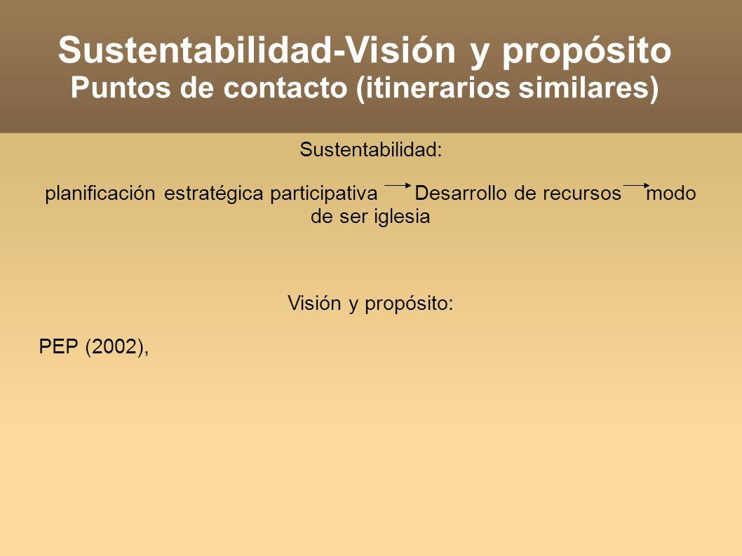 Sustentabilidad-Visión y propósito Puntos de contacto (itinerarios similares) Sustentabilidad: planificación estratégica participativa Desarrollo de recursos modo de ser iglesia Visión y propósito: PEP (2002), movilizados por esto, avanzamos hacia DDR (2006): Reforma administrativa, Tesoreros y presidentes, facilitadores.