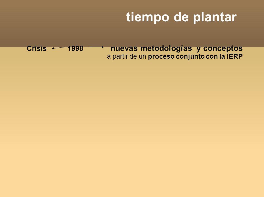 tiempo de plantar Crisis 1998 nuevas metodologías y conceptos a partir de un proceso conjunto con la IERP