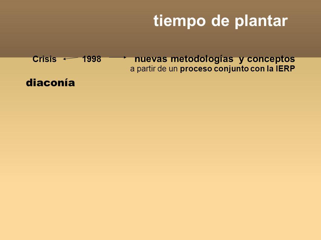 tiempo de plantar Crisis 1998 nuevas metodologías y conceptos a partir de un proceso conjunto con la IERP diaconía