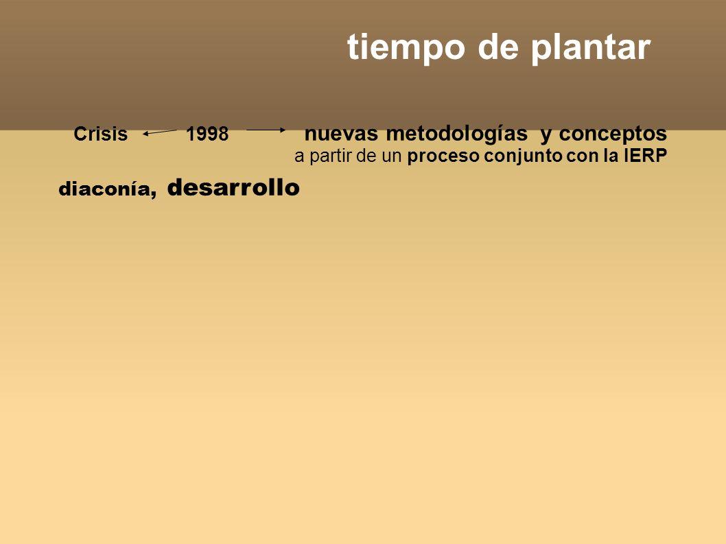 tiempo de plantar Crisis 1998 nuevas metodologías y conceptos a partir de un proceso conjunto con la IERP diaconía, desarrollo