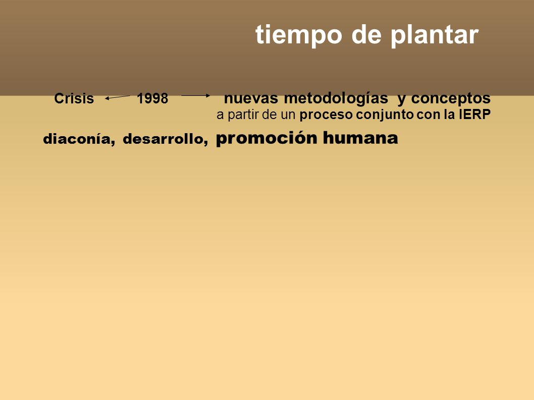 tiempo de plantar Crisis 1998 nuevas metodologías y conceptos a partir de un proceso conjunto con la IERP diaconía, desarrollo, promoción humana, empoderamiento