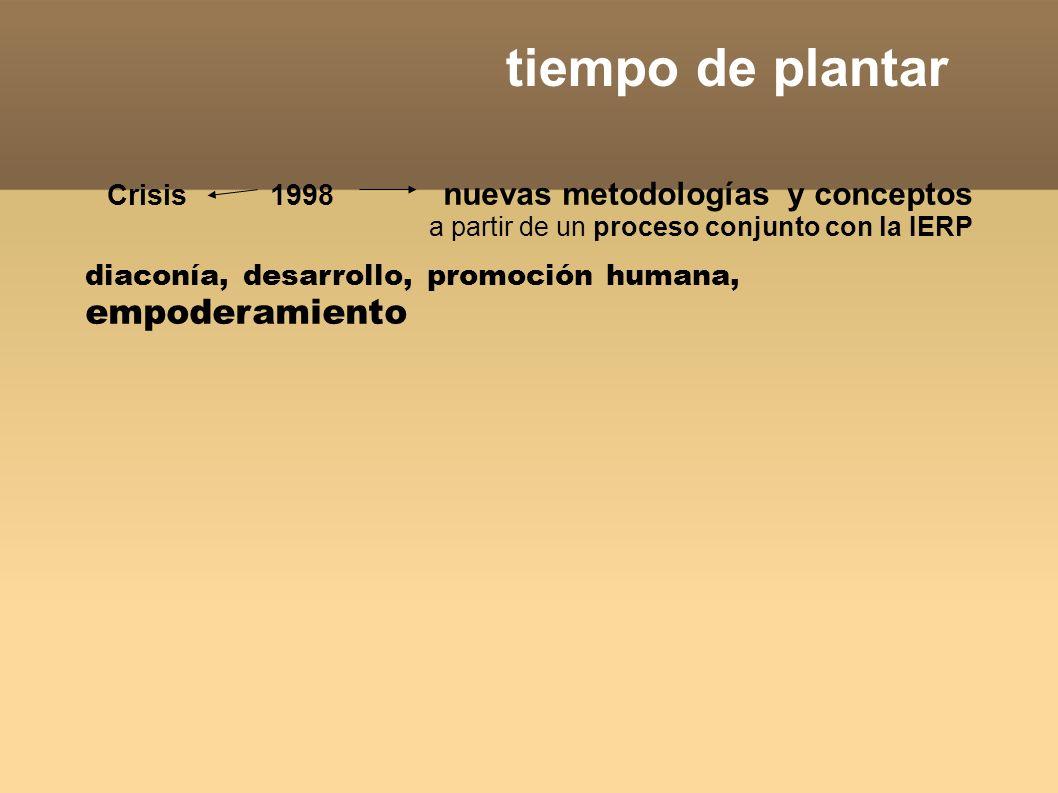 tiempo de plantar Crisis 1998 nuevas metodologías y conceptos a partir de un proceso conjunto con la IERP diaconía, desarrollo, promoción humana, empoderamiento, alianzas estratégicas con la sociedad civil