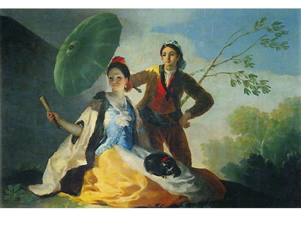 -En este cartón, Goya pintó como  protagonista femenina- a una maja a la que presenta aquí como a un personaje de la alta sociedad.