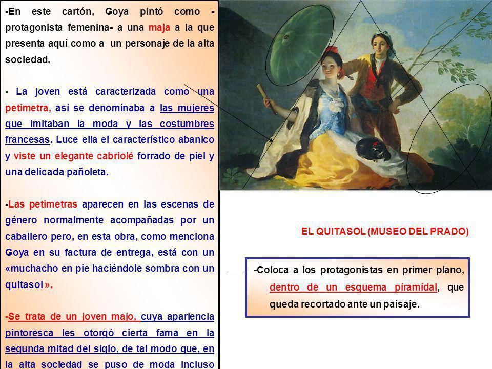EL QUITASOL (MUSEO DEL PRADO) -Con una distribución muy lógica reparte los colores primarios : ( -r+am+az- ) entre la vestimenta de ambos personajes.