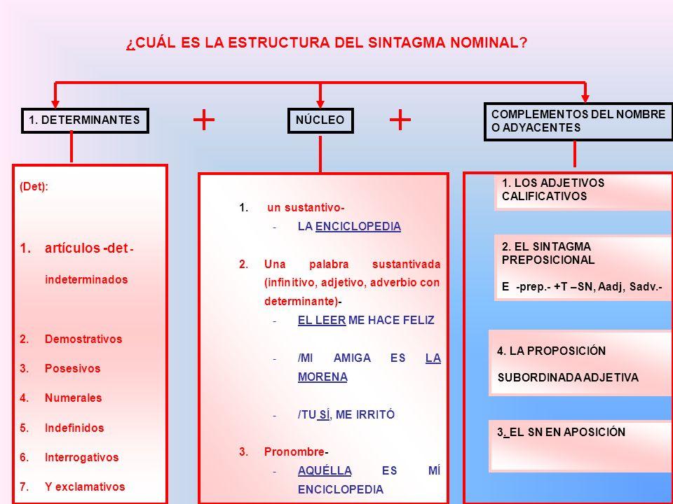 ¿CUÁL ES LA ESTRUCTURA DEL SINTAGMA NOMINAL? 1. DETERMINANTES NÚCLEO COMPLEMENTOS DEL NOMBRE O ADYACENTES (Det): 1.artículos -det - indeterminados 2.D