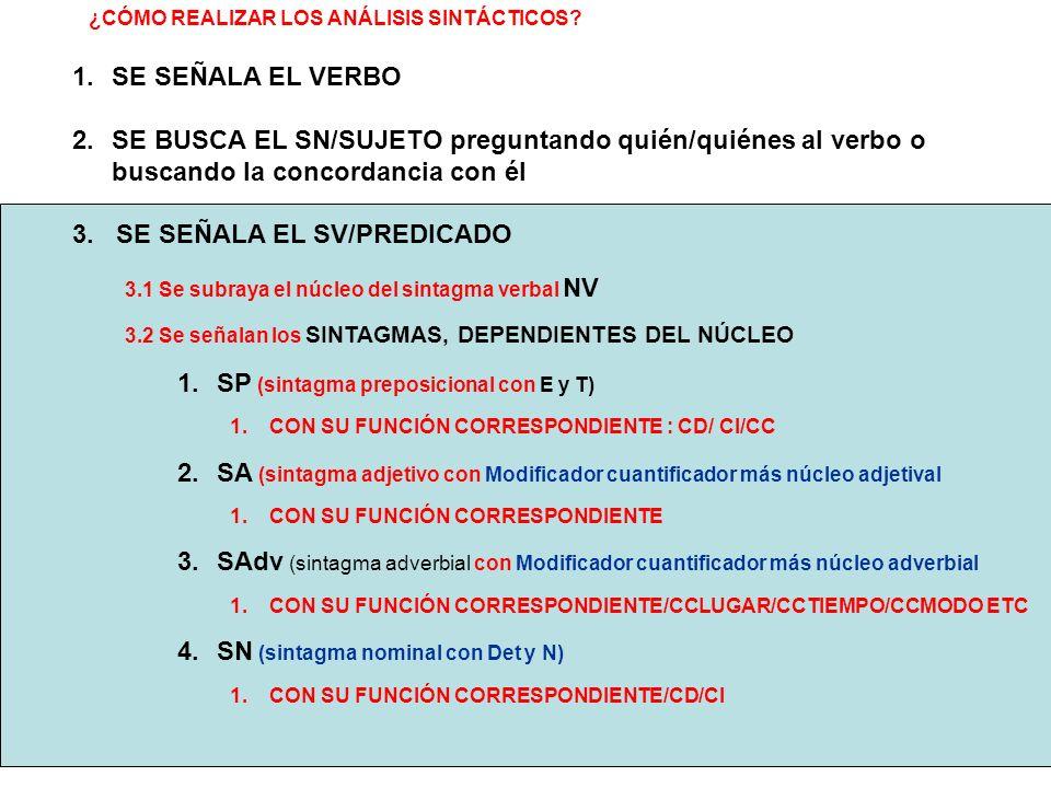 ¿CÓMO REALIZAR LOS ANÁLISIS SINTÁCTICOS? 3.1 Se subraya el núcleo del sintagma verbal NV 3.2 Se señalan los SINTAGMAS, DEPENDIENTES DEL NÚCLEO 1.SP (s