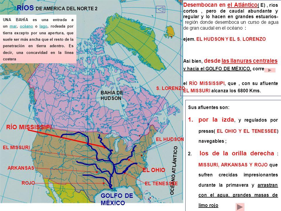 OCÉANO ATLÁNTICO Desembocan en el Atlántico ( E), ríos cortos, pero de caudal abundante y regular y lo hacen en grandes estuarios- región donde desemb