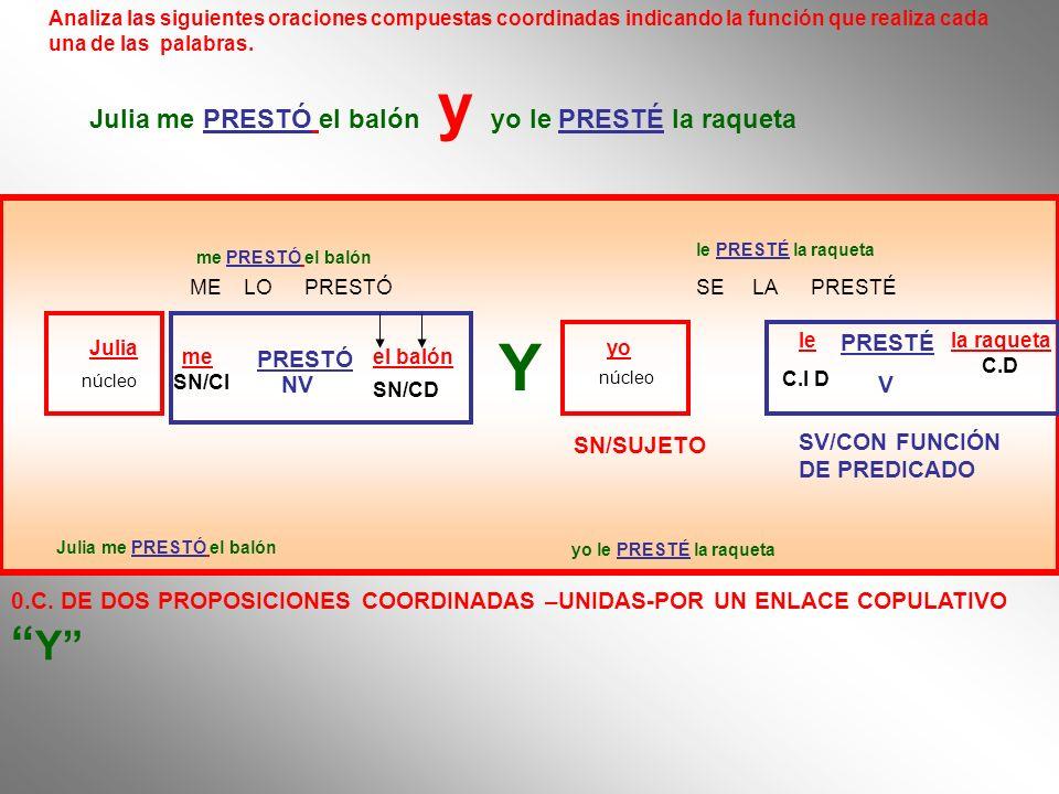 Analiza las siguientes oraciones compuestas coordinadas indicando la función que realiza cada una de las palabras. SN/SUJETO SV/CON FUNCIÓN DE PREDICA