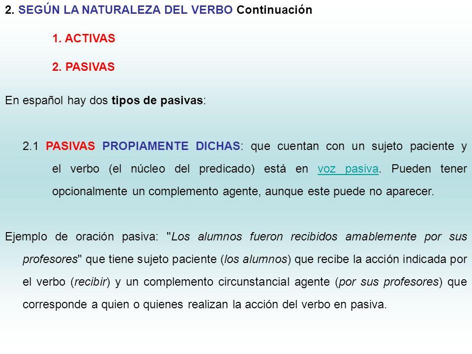 6 2. SEGÚN LA NATURALEZA DEL VERBO Continuación 1. ACTIVAS 2. PASIVAS En español hay dos tipos de pasivas: 2.1 PASIVAS PROPIAMENTE DICHAS: que cuentan