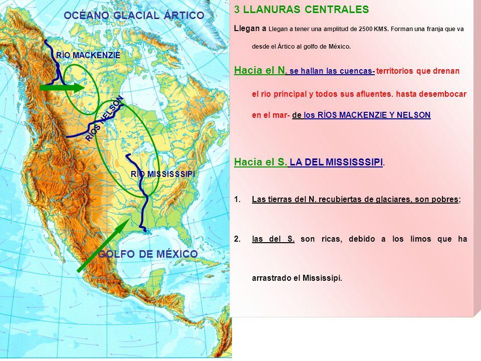 3 LLANURAS CENTRALES Llegan a Llegan a tener una amplitud de 2500 KMS. Forman una franja que va desde el Ártico al golfo de México. Hacia el N. se hal