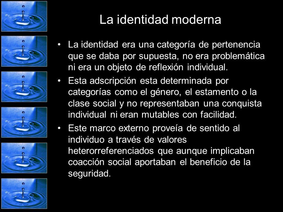 La identidad moderna La identidad era una categoría de pertenencia que se daba por supuesta, no era problemática ni era un objeto de reflexión individ