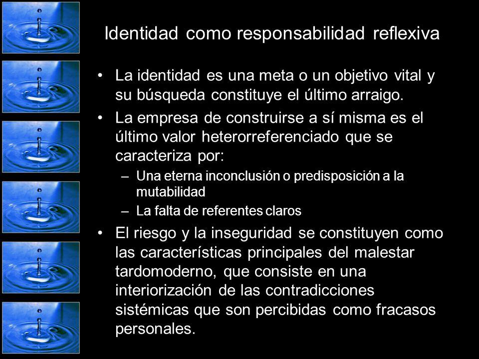 Identidad como responsabilidad reflexiva La identidad es una meta o un objetivo vital y su búsqueda constituye el último arraigo. La empresa de constr
