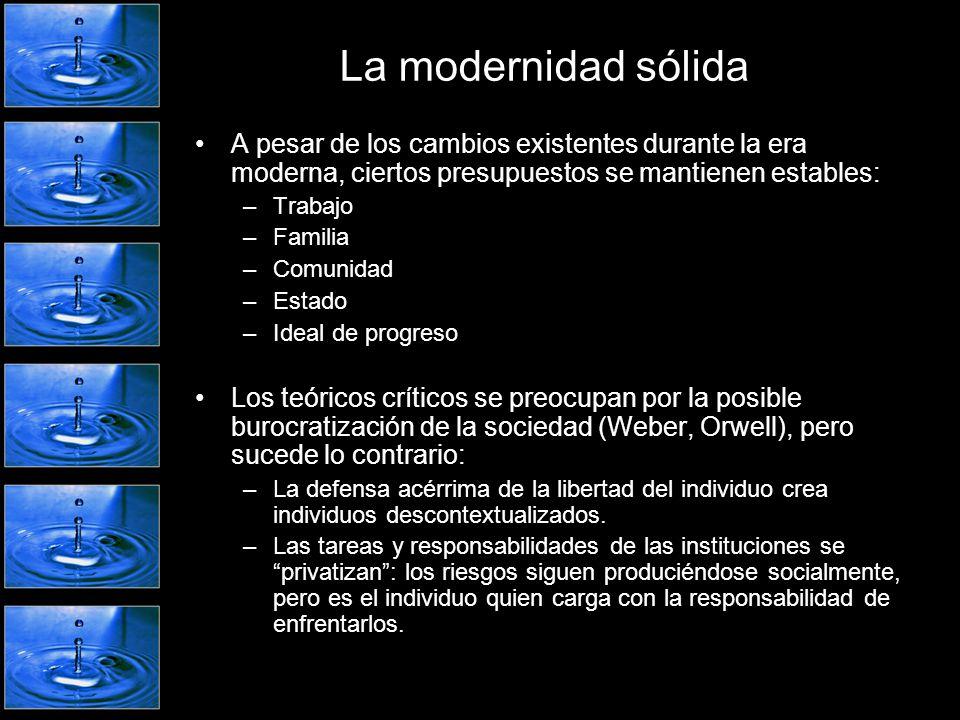 La modernidad líquida En el nuevo contexto (postmodernidad-modernidad reflexiva-modernidad líquida), las prácticas sociales se hacen fluidas.