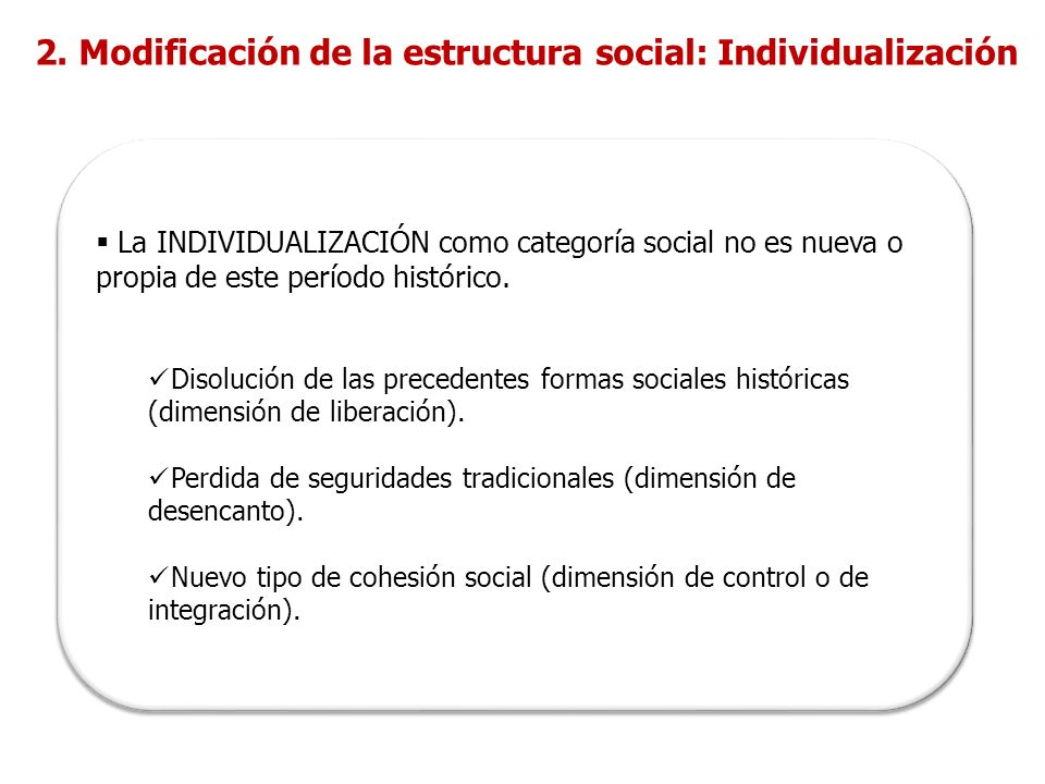 La INDIVIDUALIZACIÓN como categoría social no es nueva o propia de este período histórico.