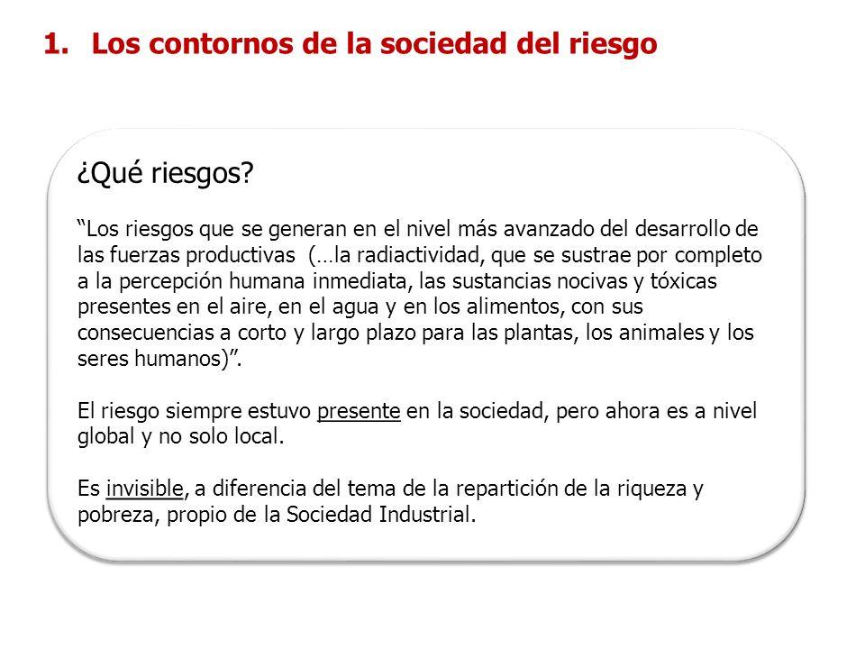 Sociedad Industrial 1.Los contornos de la sociedad del riesgo Sociedad del Riesgo 1.