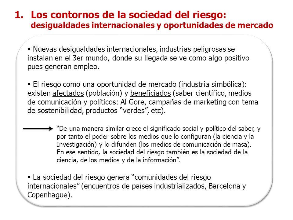 Determinación (racional) científica y percepción (irracional) del riesgo – poder de la información y su monopolio de legitimidad social y política.
