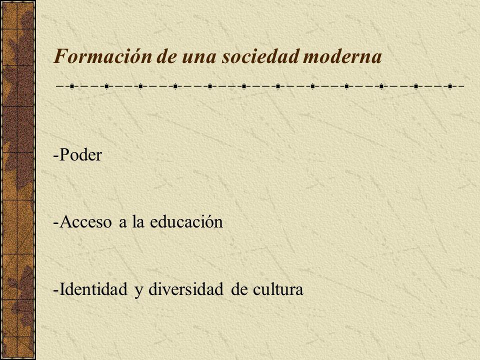 Formación de una sociedad moderna -Poder -Acceso a la educación -Identidad y diversidad de cultura