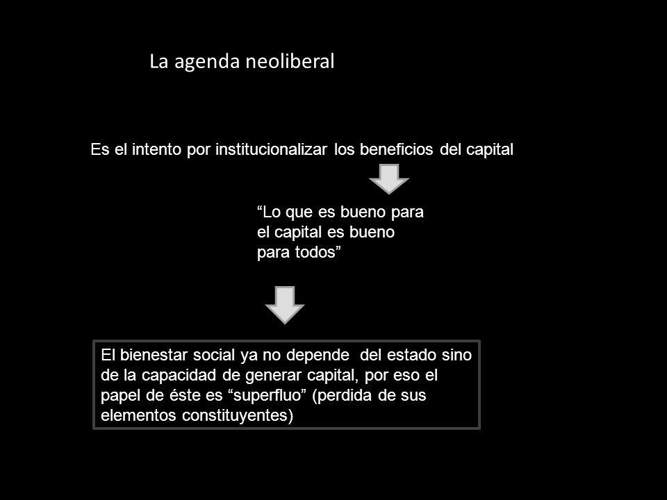 La agenda neoliberal Es el intento por institucionalizar los beneficios del capital Lo que es bueno para el capital es bueno para todos El bienestar s