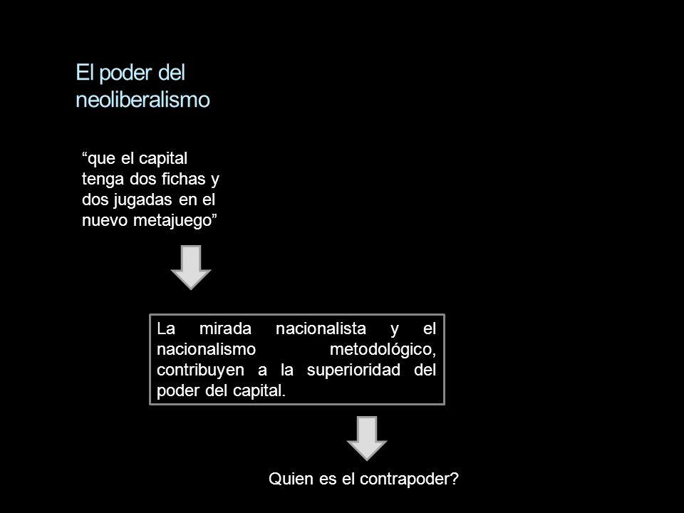 El poder del neoliberalismo La mirada nacionalista y el nacionalismo metodológico, contribuyen a la superioridad del poder del capital. Quien es el co