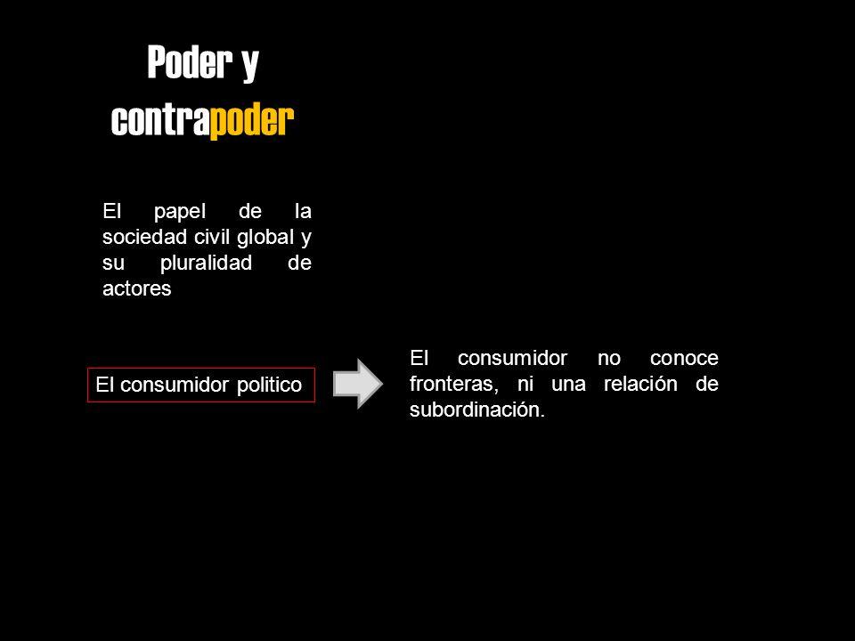 Poder y contrapoder El papel de la sociedad civil global y su pluralidad de actores El consumidor politico El consumidor no conoce fronteras, ni una r