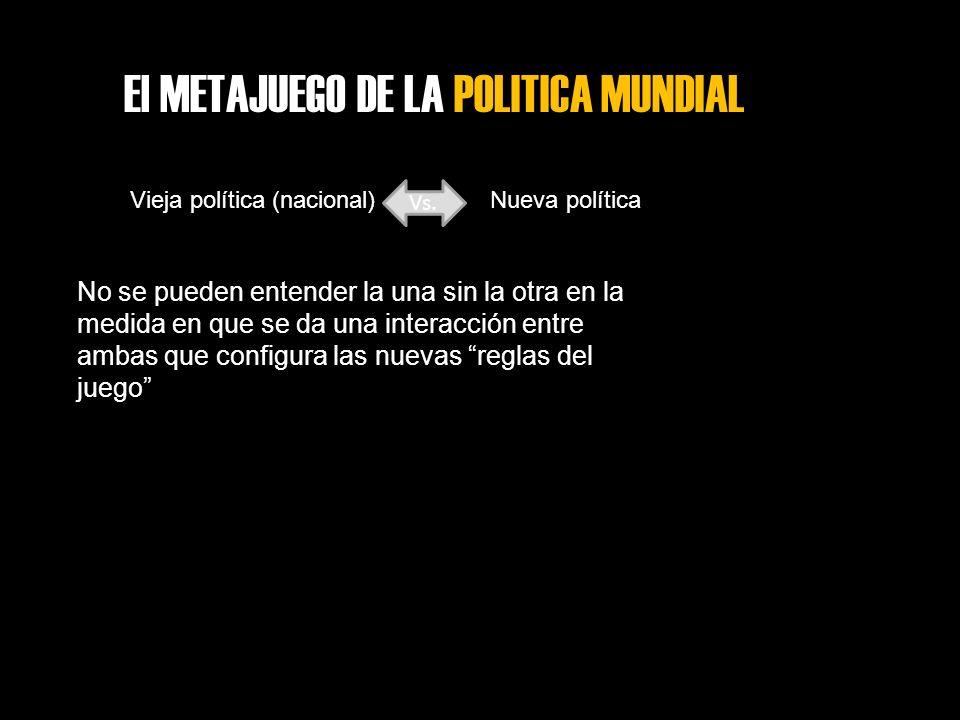 El METAJUEGO DE LA POLITICA MUNDIAL Vieja política (nacional) Vs. Nueva política No se pueden entender la una sin la otra en la medida en que se da un