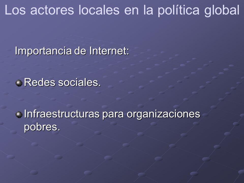 Importancia de Internet: Redes sociales. Infraestructuras para organizaciones pobres.