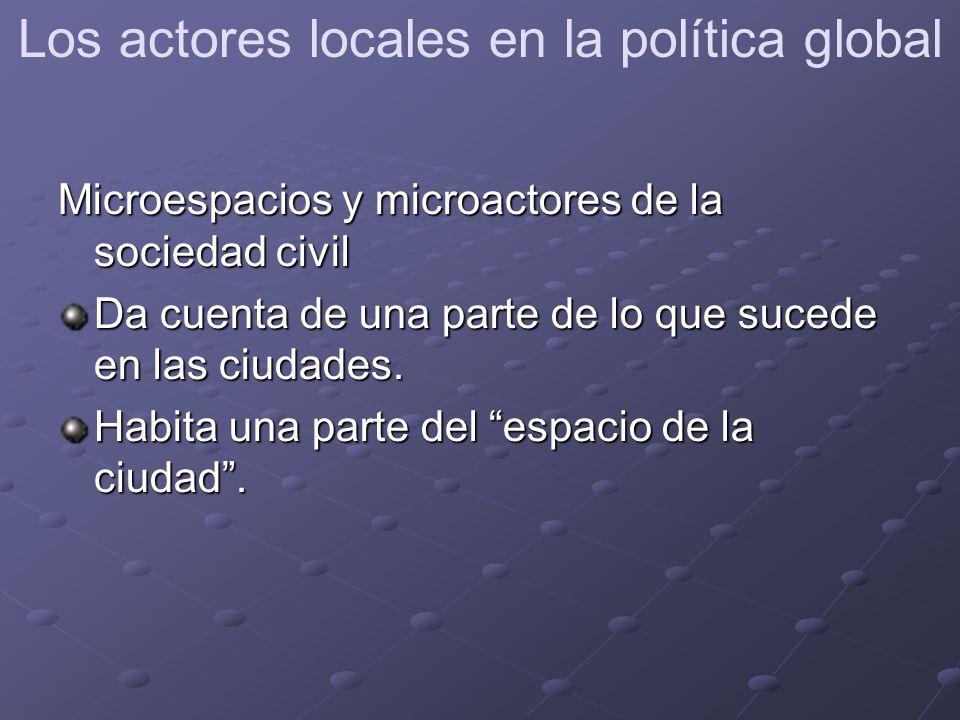 Microespacios y microactores de la sociedad civil Da cuenta de una parte de lo que sucede en las ciudades.