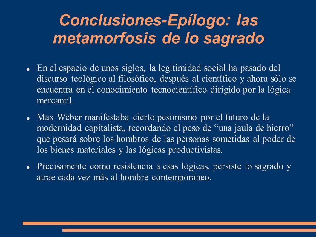 Conclusiones-Epílogo: las metamorfosis de lo sagrado En el espacio de unos siglos, la legitimidad social ha pasado del discurso teológico al filosófic
