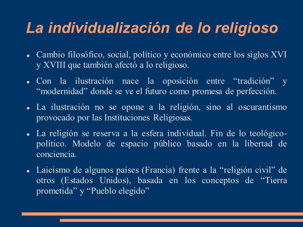 La individualización de lo religioso Cambio filosófico, social, político y económico entre los siglos XVI y XVIII que también afectó a lo religioso. C