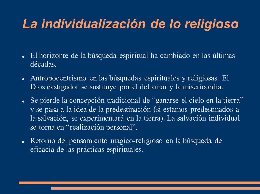 La individualización de lo religioso El horizonte de la búsqueda espiritual ha cambiado en las últimas décadas. Antropocentrismo en las búsquedas espi