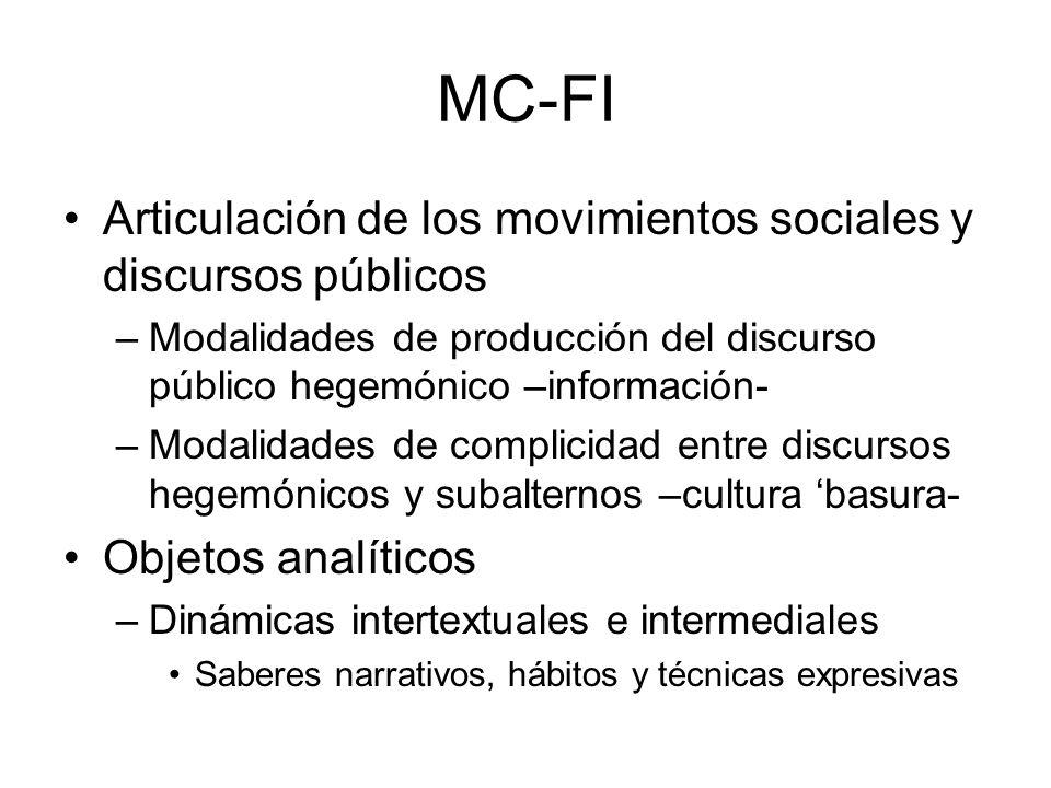 MC-FI Articulación de los movimientos sociales y discursos públicos –Modalidades de producción del discurso público hegemónico –información- –Modalida