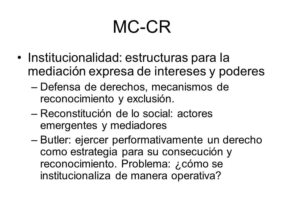 MC-CR Institucionalidad: estructuras para la mediación expresa de intereses y poderes –Defensa de derechos, mecanismos de reconocimiento y exclusión.