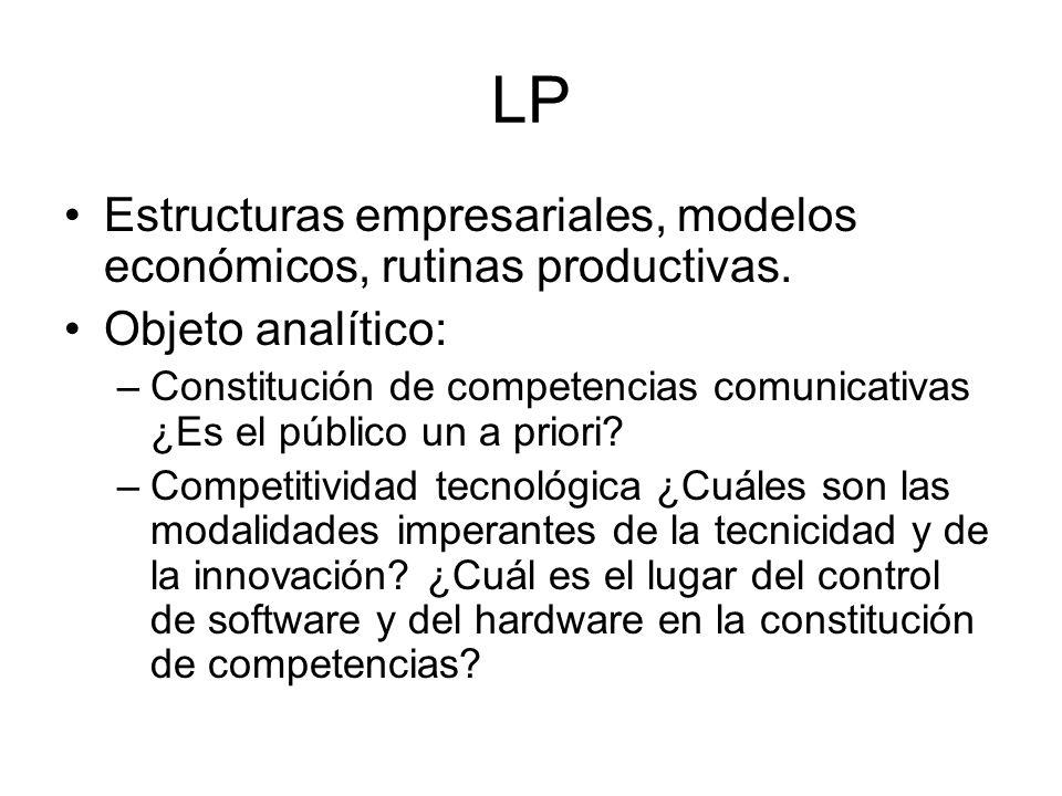 LP Estructuras empresariales, modelos económicos, rutinas productivas. Objeto analítico: –Constitución de competencias comunicativas ¿Es el público un