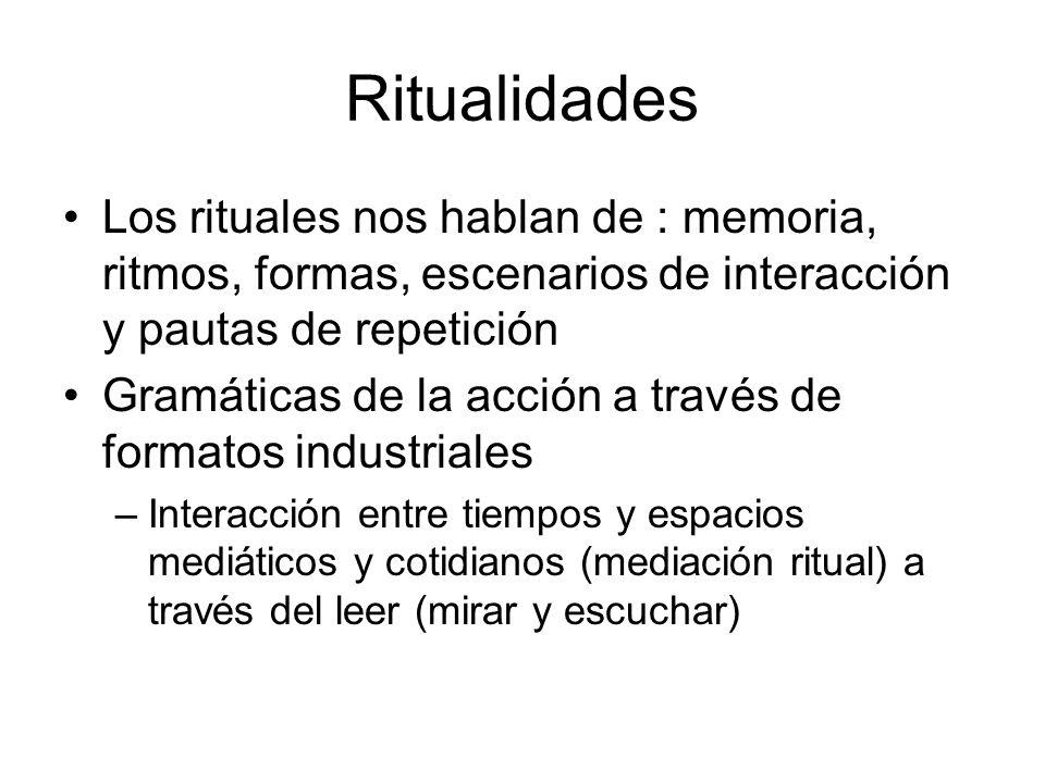Ritualidades Los rituales nos hablan de : memoria, ritmos, formas, escenarios de interacción y pautas de repetición Gramáticas de la acción a través d
