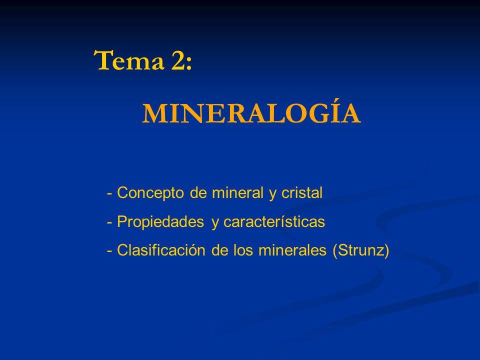 Concepto de mineral y cristal: Mineral: Sólido homogéneo por naturaleza con una composición química definida (pero generalmente no fija) y una disposición atómica ordenada.