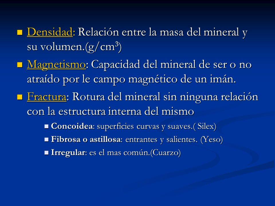 Densidad: Relación entre la masa del mineral y su volumen.(g/cm 3 ) Densidad: Relación entre la masa del mineral y su volumen.(g/cm 3 ) Magnetismo: Ca