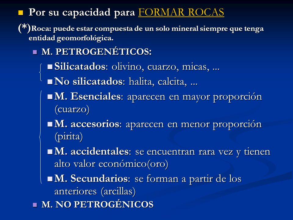 Por su capacidad para FORMAR ROCAS Por su capacidad para FORMAR ROCAS (*) Roca: puede estar compuesta de un solo mineral siempre que tenga entidad geo