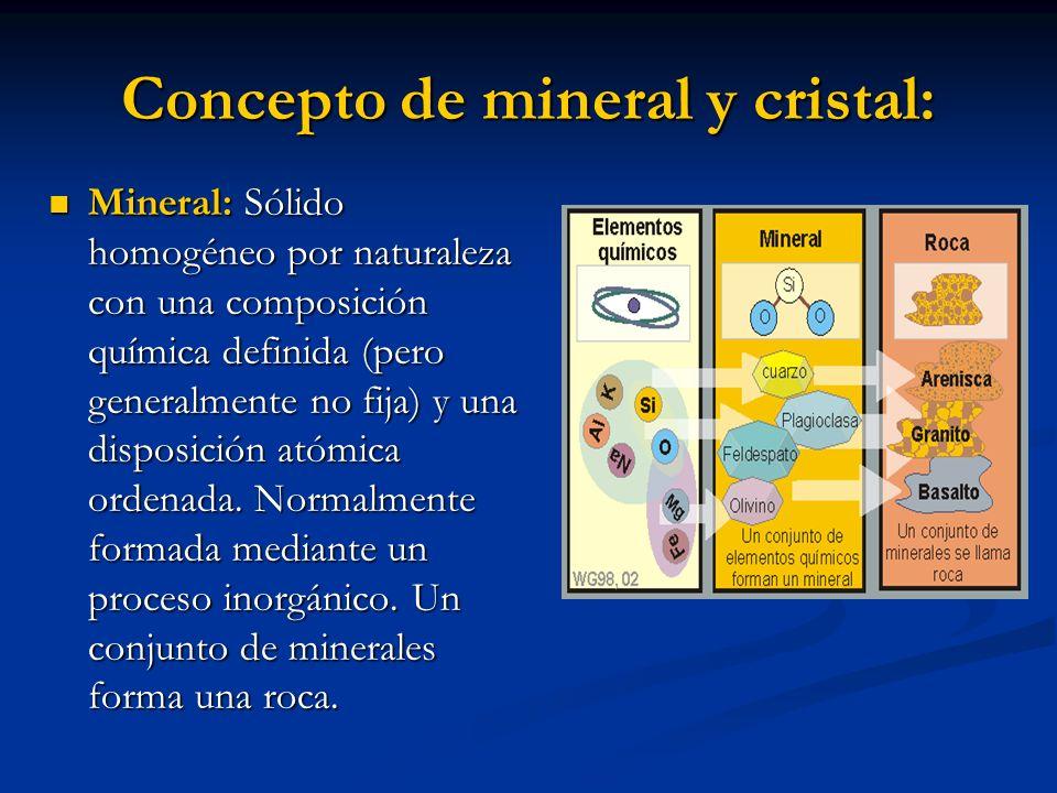 Concepto de mineral y cristal: Mineral: Sólido homogéneo por naturaleza con una composición química definida (pero generalmente no fija) y una disposi