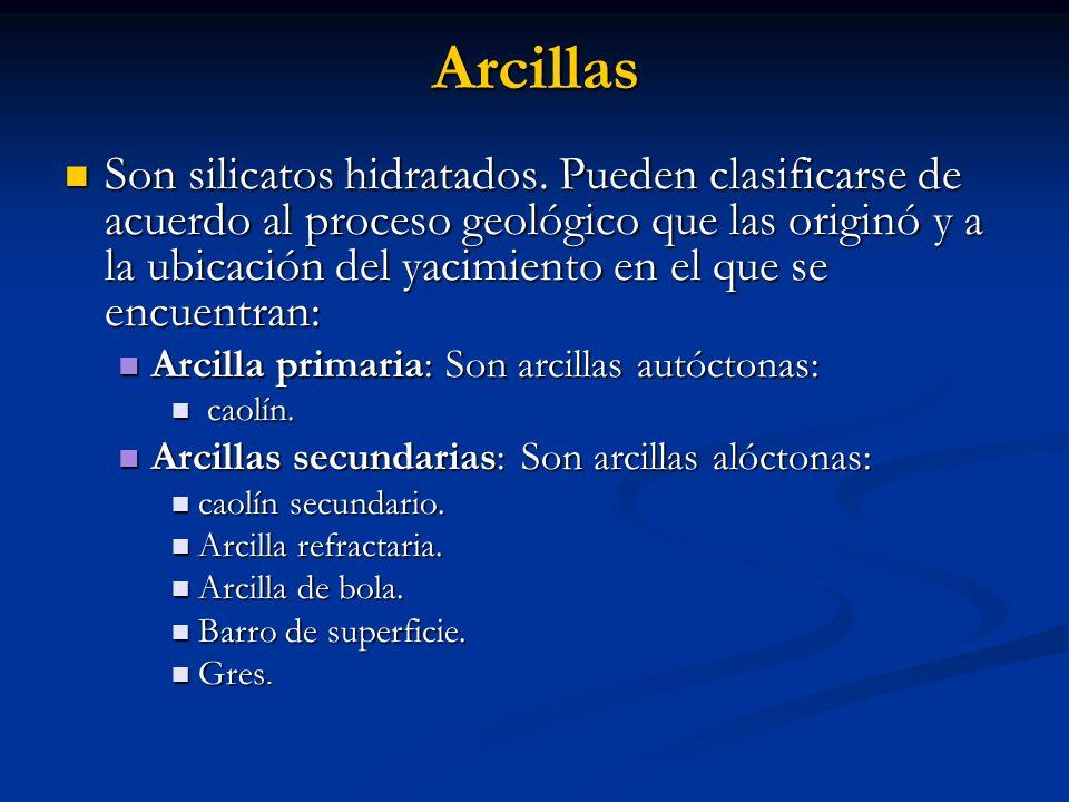 Arcillas Son silicatos hidratados. Pueden clasificarse de acuerdo al proceso geológico que las originó y a la ubicación del yacimiento en el que se en