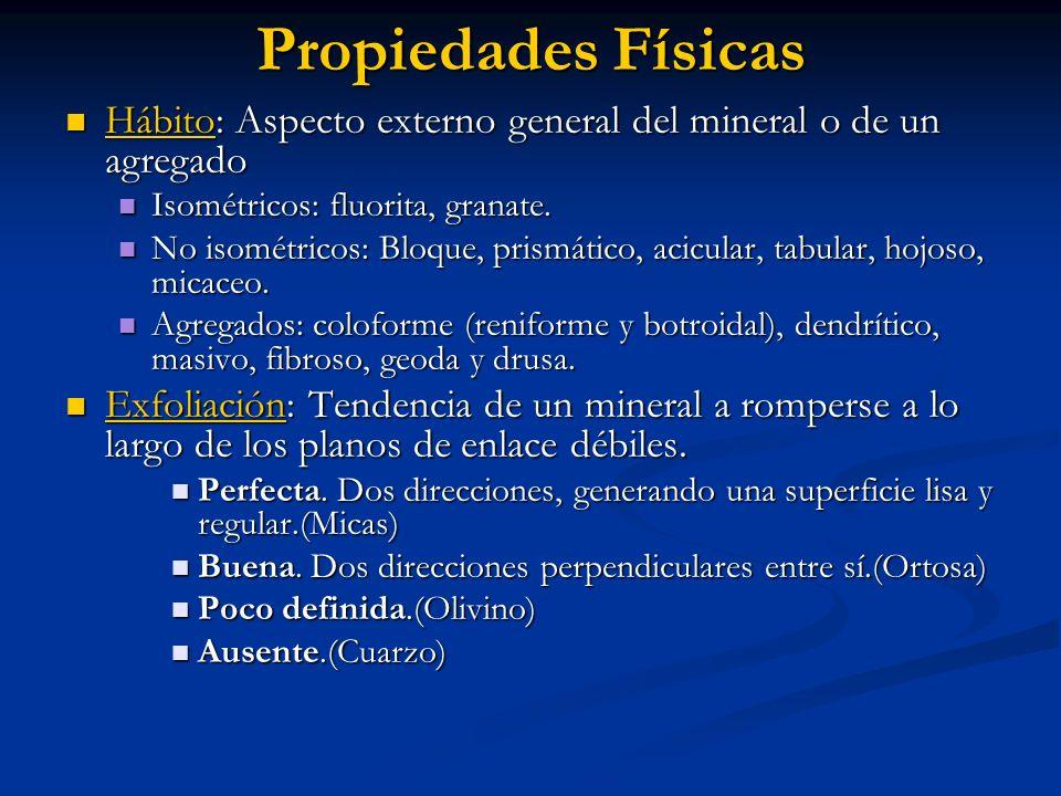 Propiedades Físicas Hábito: Aspecto externo general del mineral o de un agregado Hábito: Aspecto externo general del mineral o de un agregado Isométri