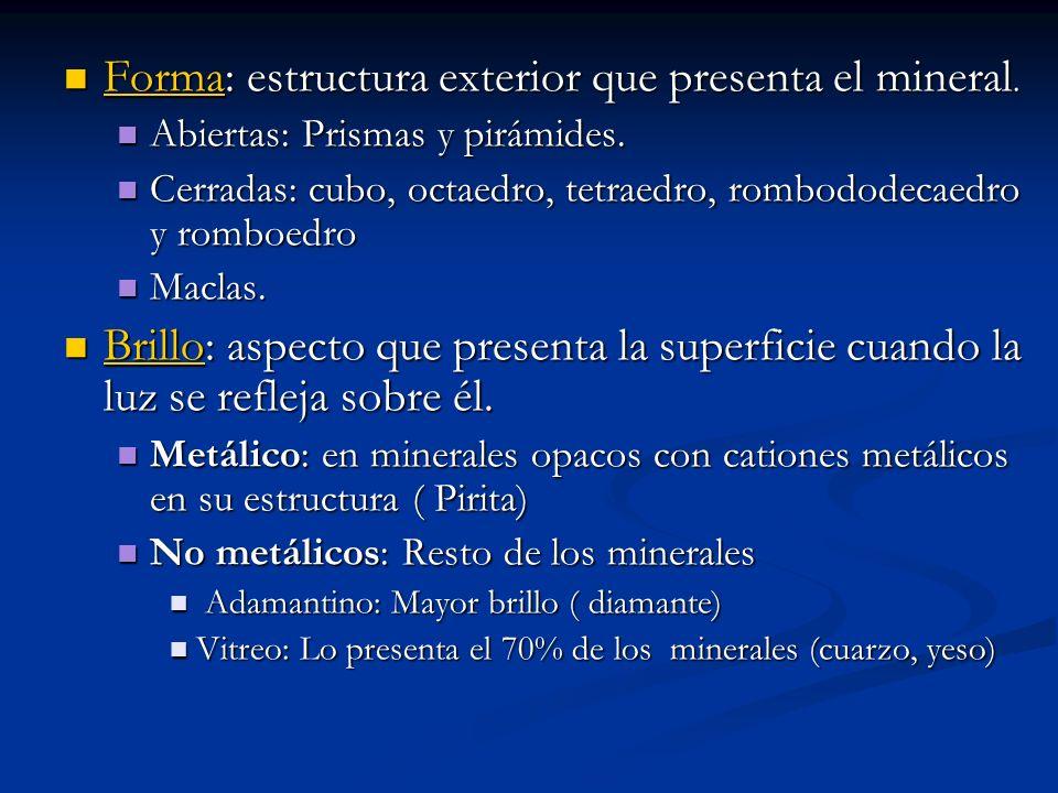Forma: estructura exterior que presenta el mineral. Forma: estructura exterior que presenta el mineral. Abiertas: Prismas y pirámides. Abiertas: Prism