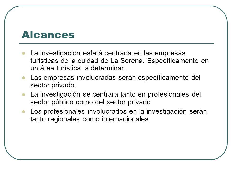 Alcances La investigación estará centrada en las empresas turísticas de la cuidad de La Serena. Específicamente en un área turística a determinar. Las