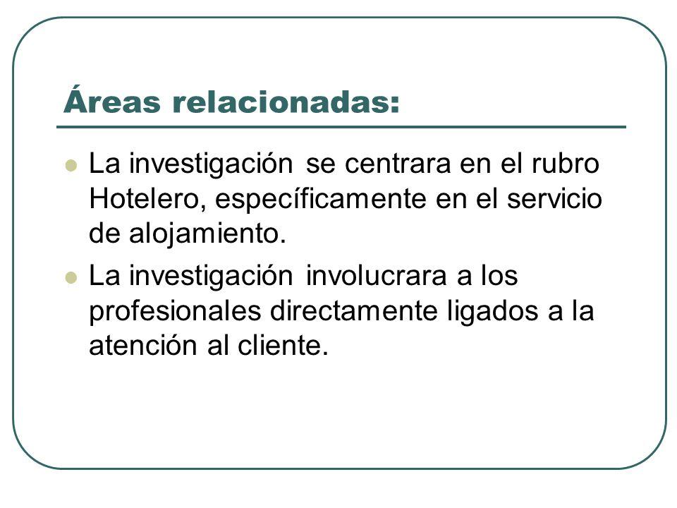 Áreas relacionadas: La investigación se centrara en el rubro Hotelero, específicamente en el servicio de alojamiento. La investigación involucrara a l