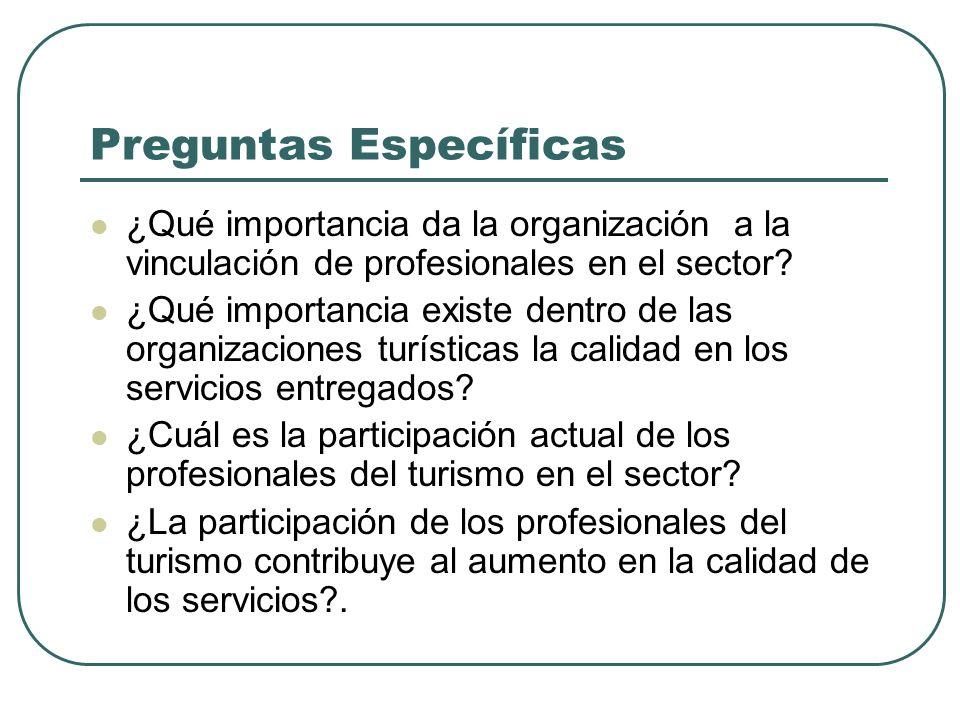 Preguntas Específicas ¿Qué importancia da la organización a la vinculación de profesionales en el sector? ¿Qué importancia existe dentro de las organi